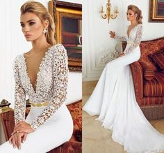 Sexy Mermaid V Neck Applique Wedding Dress Long Sleeves Bridal Gown Custom Size