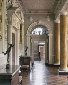 The ornate entrance hall in Castle Ward, Northern Ireland, looking towards the staircase hall. Entry Stairs, Entrance Foyer, Grand Staircase, Entrance Halls, Entryway, Georgian Interiors, Vintage Interiors, English Interior, Classic Interior