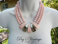 Vintage Statement Necklace//Pastel Pink And Silver Lucite Bead Three Strand Choker//Retro Jewelry