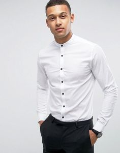 Buy ASOS DESIGN stretch slim shirt in white with grandad collar and contrast buttons at ASOS. Get the latest trends with ASOS now. Mens White Dress Shirt, White Shirt Outfits, Collared Shirt Dress, White Shirts, White Jeans, Grandad Collar Shirt, Collar Shirts, Asos, Men Casual