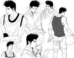 Slam Dunk -Akira Sendoh Slam Dunk Manga, Vida Real, Drawing Poses, Kuroko, Slammed, Akira, Webtoon, Art Reference, Otaku