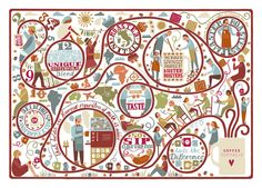 Coffee journey map illustration - Lauren Radley