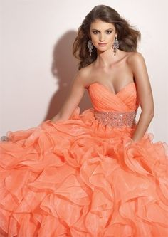 Quinceanera Dresses & Ball Gown,wedding dresses,maternity wedding dress,plus size wedding dress ,discount Orange Organza Quinceanera Dresses Ball Gown 910791 bridal gowns this color or teal would be perfect Orange Prom Dresses, Quince Dresses, Ball Dresses, Homecoming Dresses, Ball Gowns, Evening Dresses, Formal Dresses, Dresses 2014, Orange Dress