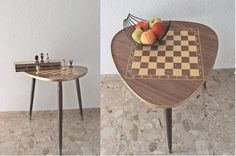 Vintage mid century modern table chess table by EmmasHistory, €85.00