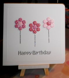 Candi flowers using Card Candi by Craftwork Cards. Greeting and stems (peel-off straight lines) by Craft Creations. Handmade Birthday Cards, Handmade Cards, Card Making Inspiration, Making Ideas, Diy And Crafts, Paper Crafts, Card Candy, Craftwork Cards, Card Tricks