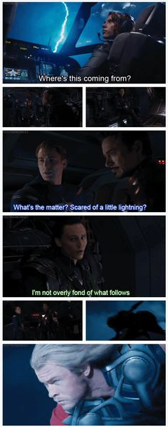 The Avengers ...What's the matter? Scared of a little lightning? *epic landing on the wing by Thor*