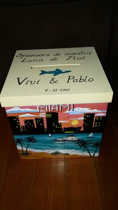 Caja alcancia urna para boda personalizada en medida 20x20x20 cm.