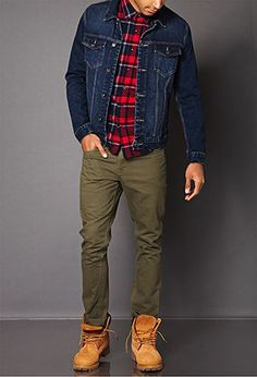 Casual Wear For Men, Stylish Mens Outfits, Timberland Outfits Men, New Balace, Stil Inspiration, Plaid Shirt Outfits, Look Man, Mein Style, Men With Street Style