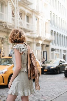 Mint Green Ruffled For Love and Lemons Dress with a Blank NYC Rose Gold Leather Jacket on juliettelaura.blogspot.com