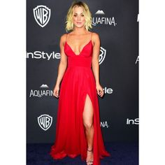f98ca462e1 Kaley Cuoco Red Plunging Neckline Thigh-high Slit Prom Dress Golden Globe  Awards 2016 After
