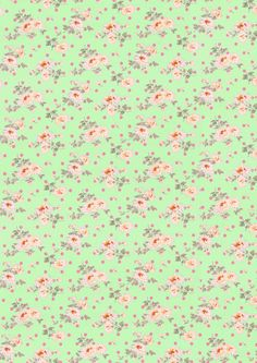 green wallpaper with pink flowers