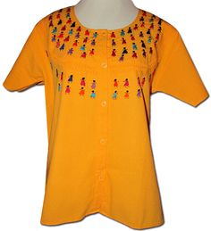 46d7379399a818 Embroidered Oaxacan Peasant Yellow Blouse L XL - My Mercado Mexican Imports  Mexican Blouse