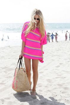Lovely pink beach stripes cute mini dress for over swim suit with light  brown wood type hand bag the perfect summer beach outfit 60b679b54937a
