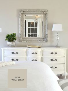Behr Wheat Bread How To Choose a Paint Color: 10 tips to help you decide. Home Bedroom, Bedroom Decor, Master Bedroom, Bedrooms, Bedroom Furniture, Paint Colors For Home, White Furniture, Room Colors, Colours