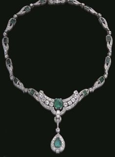 Art Deco emerald and diamond necklace. Christies