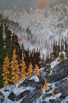 Fabric collage, Machine stitched, mounted on canvas. Designed and created by Chris Allaway. 24x36 sold Rocky Mountains, Collage, Canvas, Nature, Fabric, Travel, Design, Art, Tela
