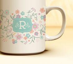 Custom Monogrammed Mug | 11 oz. Stylish Floral Coffee Mug a perfect Gift for Her from Julie Bluet.