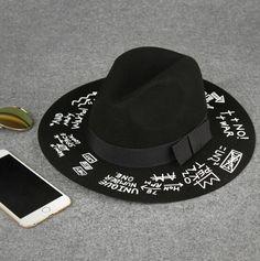 New Fashion Graffiti Women Cloches Wool Felt Wide Brim Hat Bucket Hat Caps Winter Warm Hat Headwear From Jessiebee, $13.44 | Dhgate.Com