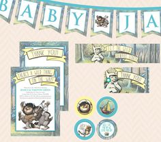Where the Wild Things Are Baby Shower Invitation, Thank You Card and Decoration Set