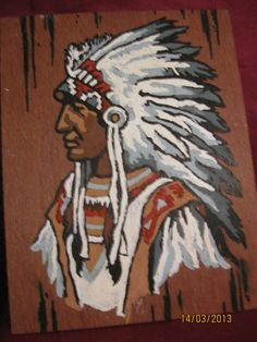 Vintage Paint by Number Indian Chief artwork painting.