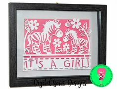 Zebra Papercut Template It's a Girl SVG / DXF Cutting File For Cricut / Silhouette & PDF Printable For Hand Cutting. Digital Download by DigitalGems on Etsy