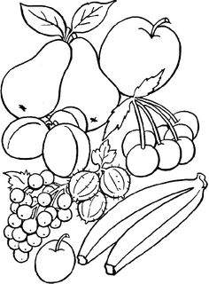 Fruit basket for kid to print and color Coloring Pages