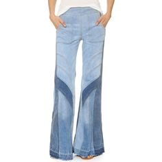 Free People Tidal Wave Flare Jeans (645 BRL) ❤ liked on Polyvore featuring jeans, pale blue multi, cuffed jeans, flare jeans, free people, flared jeans and patching blue jeans