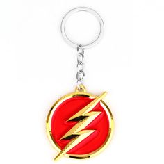 DC Comics The Flash lightning keychain red gold logo 6cm Metal Keychain Keyring gift key chain ring holder for car