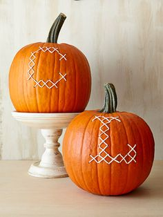 Personalize your pumpkin with a little embroidery. Just use a large needle and butcher's twine.