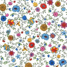 """Liberty of London's Spring/Summer 2013 Collection of Tana Lawn. Approximately 53"""" wide. 100% cotton, Tana Lawn. About the pattern: """"A trailing small floral draw"""