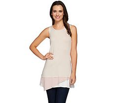 LOGO by Lori Goldstein Knit Tank with Contrast Hem