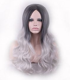 AneShe Long Wavy Black Root Ombre Silver Grey Curly Wig Synthetic Hair Wigs for Women Black to Silver Grey * To view further for this item, visit the image link.