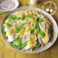 Alice Balice DIY - Gâteau Anniversaire Fée Clochette feuilles vertes jaunes blanches