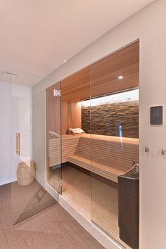 Luxury sauna | Architect, Schellen Architecten BVBA #villa #comfort #wellness #sauna #luxury Home Spa Room, Spa Rooms, Sauna House, Sauna Room, Modern Saunas, Spa Interior Design, Sauna Design, Relaxation Room, House Tiles