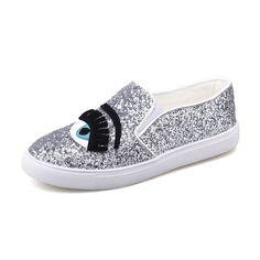 WOLF WHO Chiara Ferragni Flats Round Toe zapatos mujer Glitter Eyelash Flat  Espadrilles Blink Eye Flat 2834da1fa50b