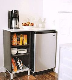 Beverage Bar - for Neal's coffee maker Adding a freestanding beverage center allows you to include a small fridge, coffeemaker, and extra storage in the kitchen.: