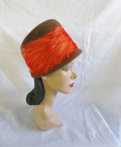 50's 60's Vintage Bucket Hat Brown with Orange by MyVintageHatShop, $49.00
