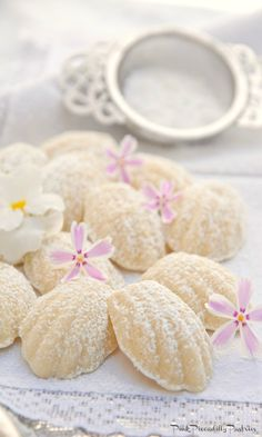 Pink Piccadilly Pastries: Pastries Madeline Cookies Recipe, Melting Moments Cookies, Tea Party Menu, Elegant Cookies, Madeleine Recipe, Afternoon Tea Recipes, Raspberry Buttercream, Tea Cookies, Pink Cookies