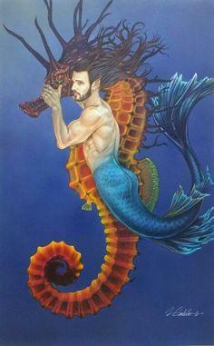 Merman #merman #seahorse #fantasy