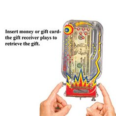 Put some retro pinball wizardry into your money or gift card giving this holiday. Players must succeed in getting all 3 metal pinballs into a specific hole to unlock the gift drawer and retrieve their money!