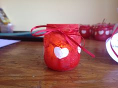 Valentines day preschool craft project : someday I will be big and the smudges will have gone away so here are my little heart-shaped fingerprints to remind you on St. Valentine's Day Baby food jar red washable paint red glitter Elmers glue to seal the red paint.. White acrylic paint for heart fingerprints tea lite