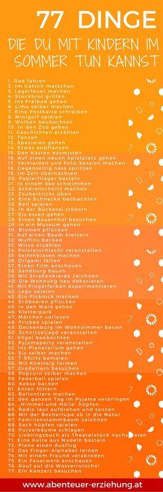 77 Dinge, die du im Sommer mit Kindern tun kannst