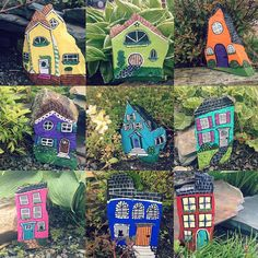 Some rock houses for Moms garden  #toocute #weekendproject #paintedrocks