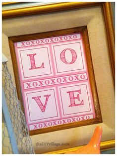 Valentines Day Art {Free Printable } - the DIY village