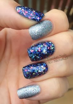 Deborah Lippmann Stronger and Cirque Polish Starstuff   http://ehmkaynails.blogspot.com/2013/12/glittery-nails-for-eighth-night-of.html