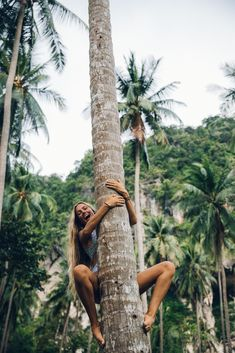 Heather Goodman Hawaii Photographer / Climbing coconut trees in Thailand. South East Asia was a dream vacation! We played at the beach every day, lived in our swimsuits, and let our hair down long and messy. #wanderlust #travel