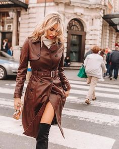 An silhouette in your favourite fabric. shows off our Dear Diary, Coats For Women, Jackets For Women, Leather Trench Coat, Trench Coats, Brown Outfit, Leather Jacket Outfits, Street Style, Latest Outfits