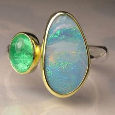 Boulder Opal and Colombian Emerald Gemstone Ring - 18k Gold and Sterling Silver Two Stone Cocktail Ring