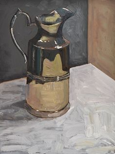 Silver pouring jug, oil paint on masonite. 2017. www.brimbrom.com