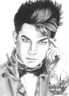 Adam Lambert - FAULT Magazine cover drawing by Elisha Blackman